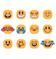 cartoon emoticons face emoji vector image