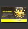 cryptocurrency bitcoin landing page website vector image vector image