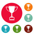 cup award icons circle set vector image