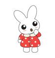 Cute cartoon bunny girl in a pretty pink dress vector image vector image