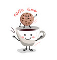 cute cartoon cup of coffee2 vector image vector image