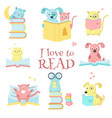 cute pet animals reading books icon set vector image