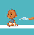 doctor vaccinating little bain hospital vector image