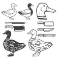 duck butcher diagram design element for poster vector image vector image