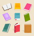 flat books and reading documents open vector image vector image