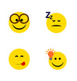 flat icon gesture set of pleasant asleep have an vector image vector image