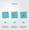 flat icons revolver bulletproof tent and other vector image
