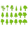flat trees tree icons with shadow vector image
