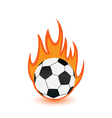 Football balls in orange fire flames vector image vector image
