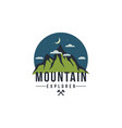 forest mountain at night adventure badge logo vector image vector image