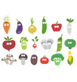 funny vegetables characters set vitamins your vector image