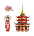 geisha with fan sakura branch pagoda set vector image vector image