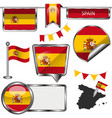 glossy icons with flag of span vector image vector image