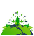 green earth with leaf sheet isolated on white vector image