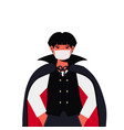 guy in mask wearing dracula costume halloween vector image vector image