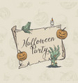 halloween party banner template hand drawn vector image vector image