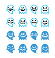 halloween scary ghost black icons set vector image