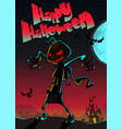halloween scary pumpkin scarecrow for halloween vector image vector image