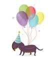 happy birthday card cartoon dog dachshund image vector image