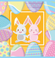 happy easter rabbit couple vector image vector image