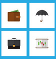 icon flat finance set of chart briefcase wallet vector image