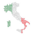 italy stylized map shaped on tangled textured vector image