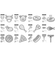 Junk food line icon set vector image vector image