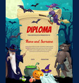 kids diploma certificate with halloween vector image