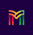 letter m logo with arrow inside vector image vector image