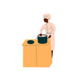 male african american chef cooking in restaurant vector image vector image