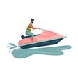 man rides a water bike world travel planning vector image