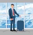 man with travel bag tourist with suitcase vector image vector image