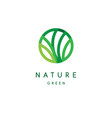 nature logo green tropical leaves icon line vector image vector image
