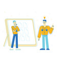 office people develop creative ideas stand near vector image