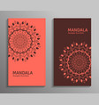 ornamental mandala flyers in red brown color vector image