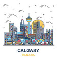 outline calgary canada city skyline with colored