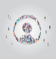 people crowd gathering in user avatar shape social vector image vector image