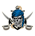 pirate skull with anchor rope and crossed swords vector image vector image
