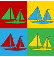 Pop art sailing ship icons vector image vector image