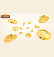 realistic gold coin explosion or splash on white vector image