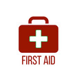 red first aid kit icon medical box with cross vector image vector image