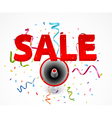 Sale with megaphone and colorful confetti vector image vector image