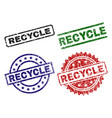 scratched textured recycle stamp seals vector image
