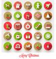 set christmas flat icons with long shadows vector image