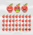 set of cute fruit smiley apple emoticons vector image