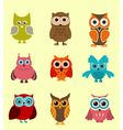 set of doodle owls vector image vector image
