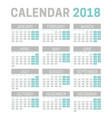 simple 2018 calendar template on white background vector image vector image