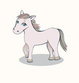 small horse cartoon pink on a light background vector image