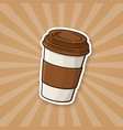 sticker disposable paper cup with coffee or tea vector image