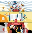 Theatre flat banner set vector image vector image